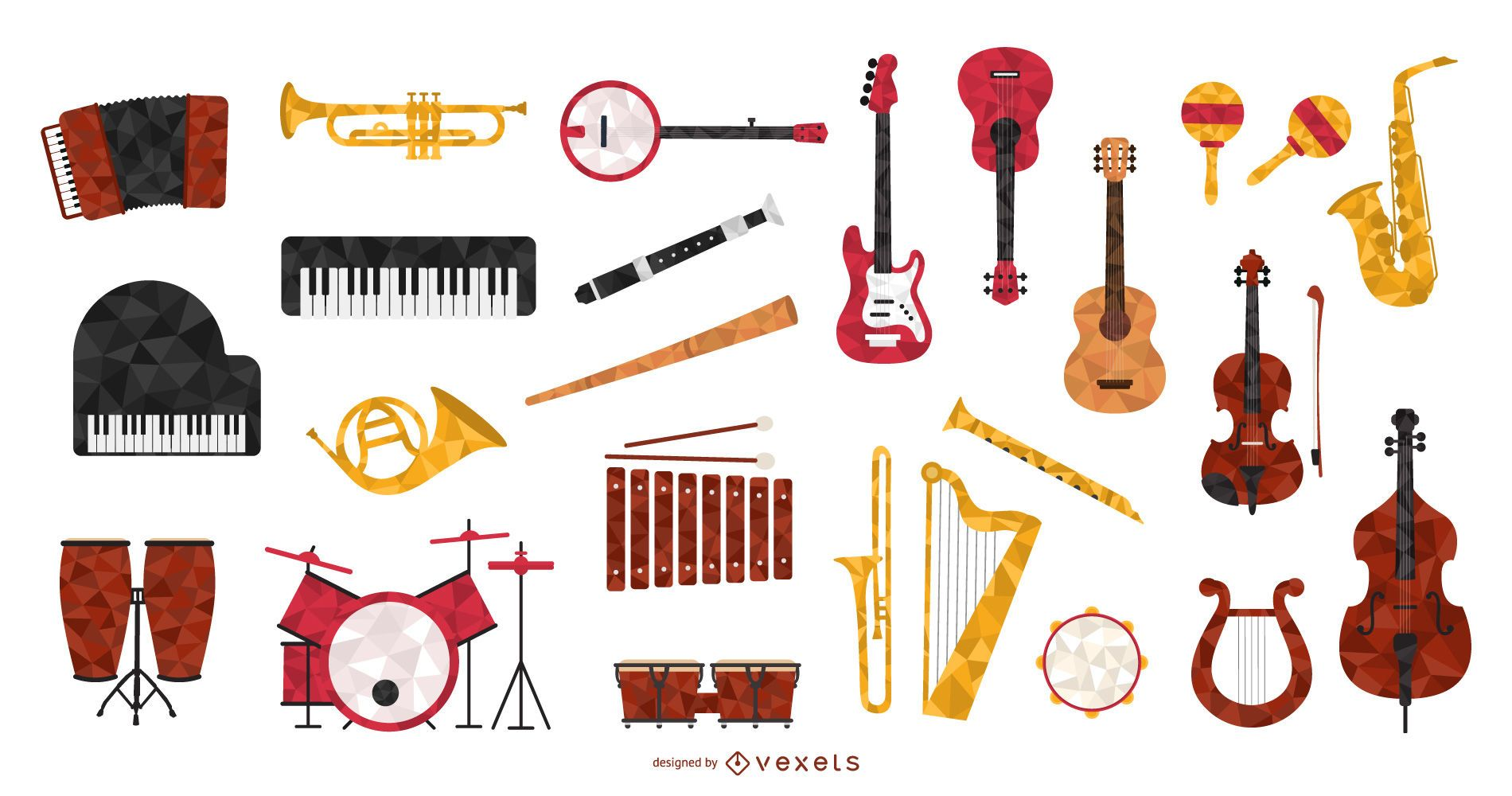 Colección de instrumentos musicales de estilo poligonal