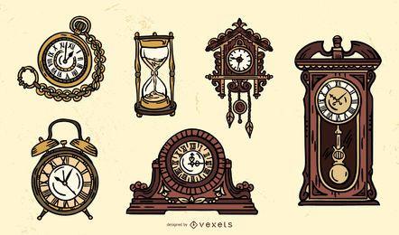 Conjunto de design de relógio antigo