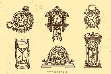 Conjunto de diseño de trazo de reloj vintage antiguo