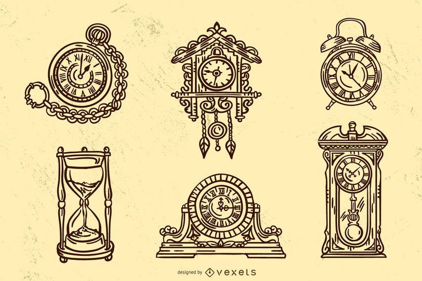 Old Vintage Clock Stroke Design Set