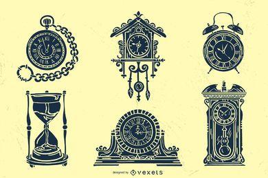 Alter Weinlese-Uhr-Schattenbild-Satz