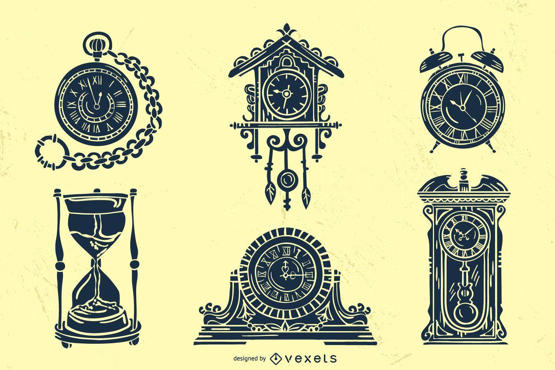Old Vintage Clock Silhouette Pack