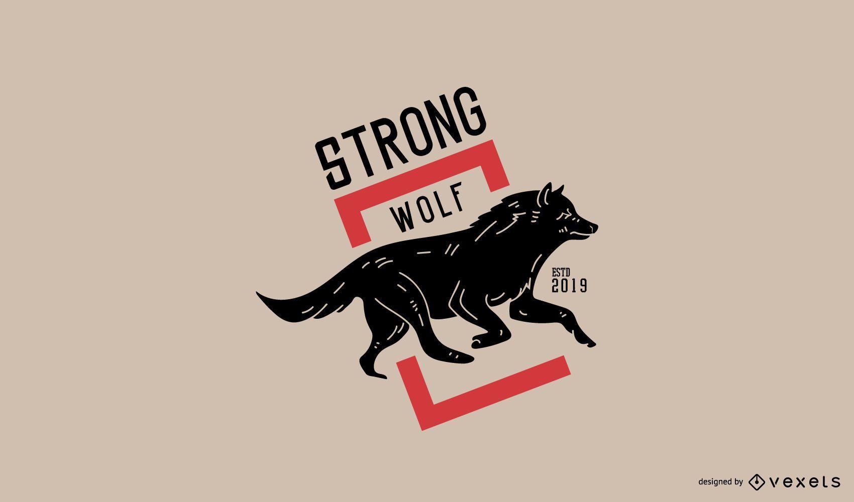 Diseño de logotipo de lobo fuerte