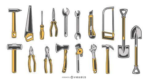 Colección de diseño de herramientas de mano