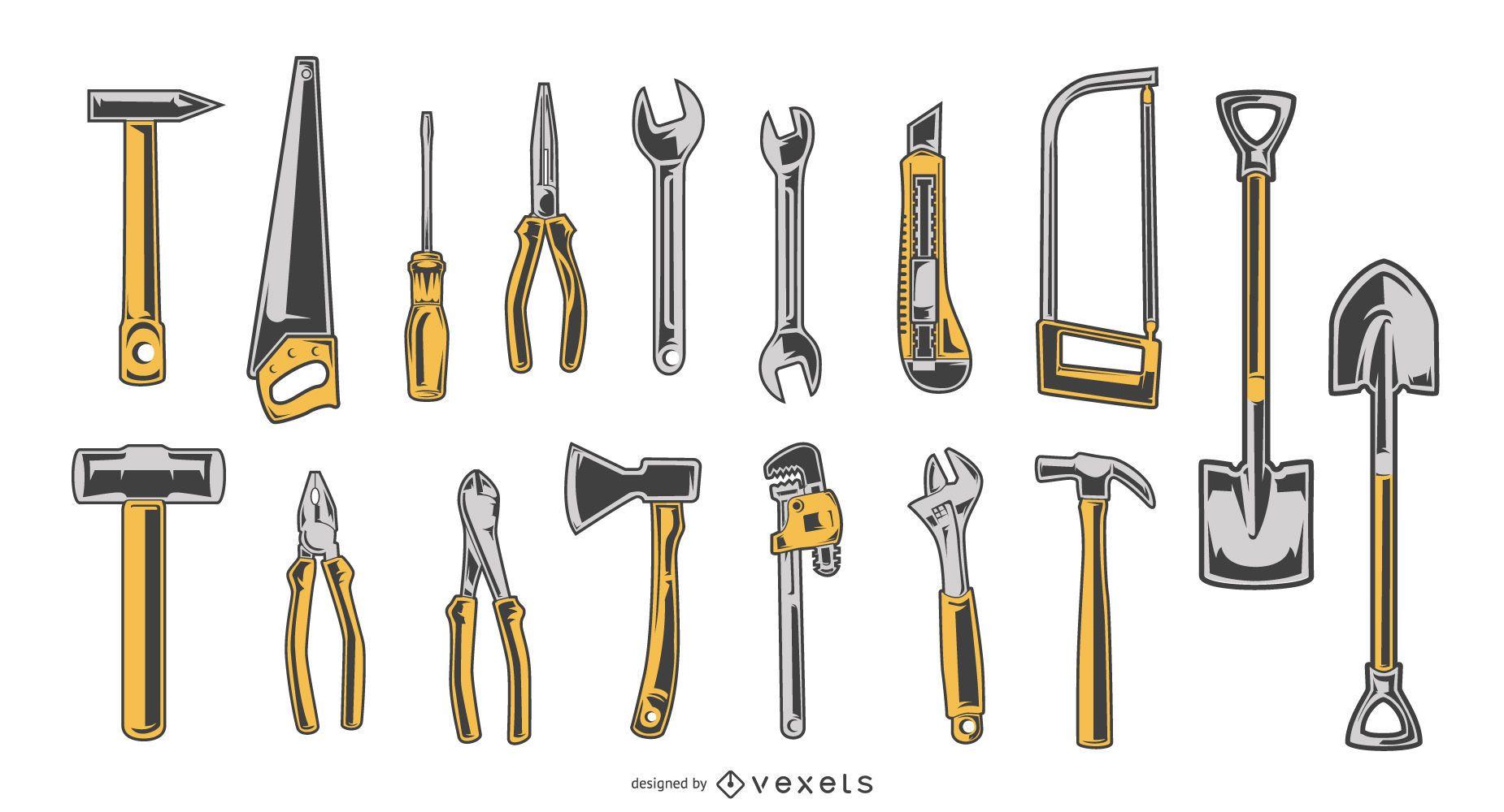 Coleção de design de ferramentas manuais