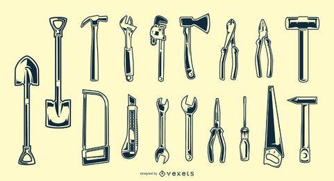 Pacote de silhueta de ferramentas manuais