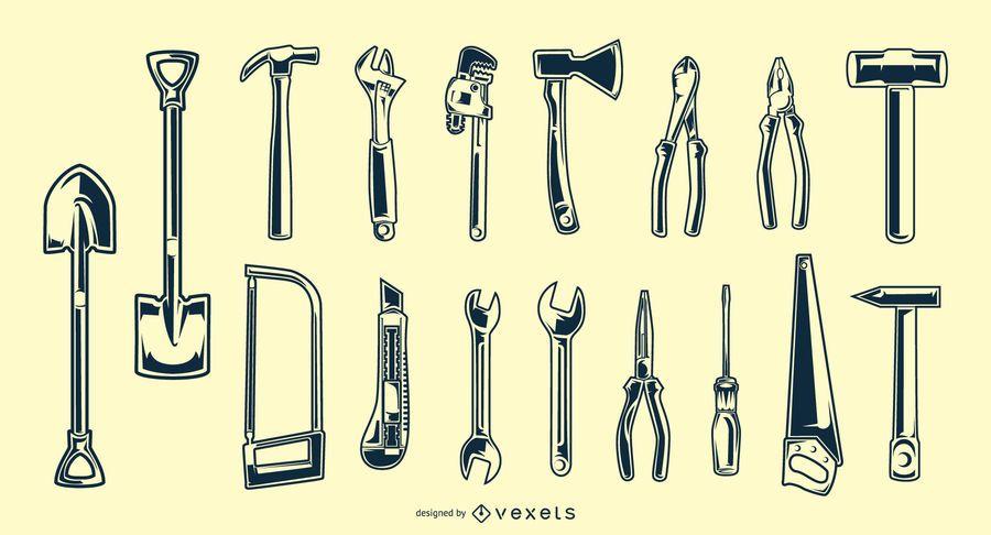 Paquete de silueta de herramienta de mano