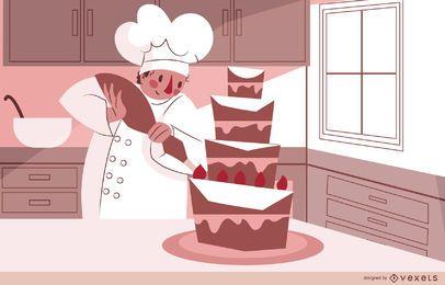 Design de ilustração de bolo de chef de confeitaria