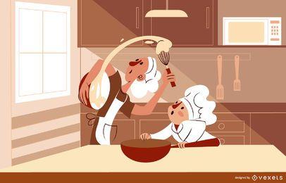Personajes de cocina en la ilustración de la cocina