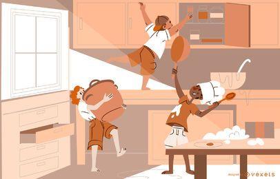 Küchen-Kinderkonzept-Design