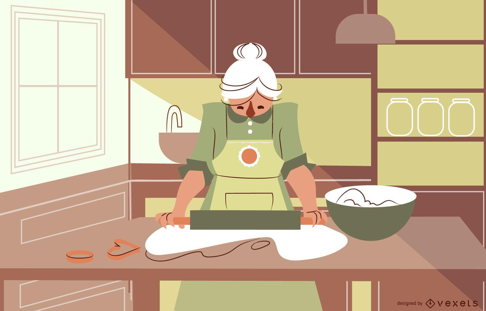 Diseño de personajes de mujer cocinando