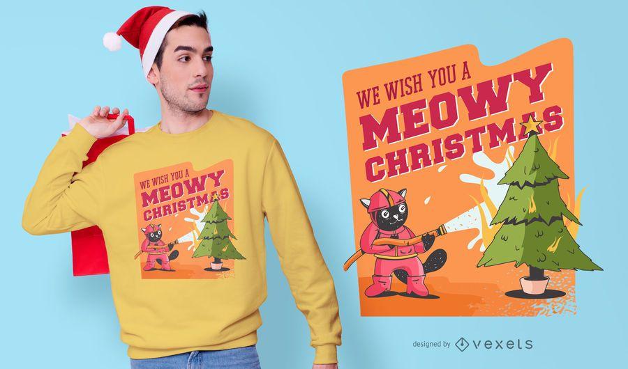 Diseño divertido de la camiseta de la Navidad del gato