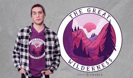 Design do t-shirt das citações da grande região selvagem