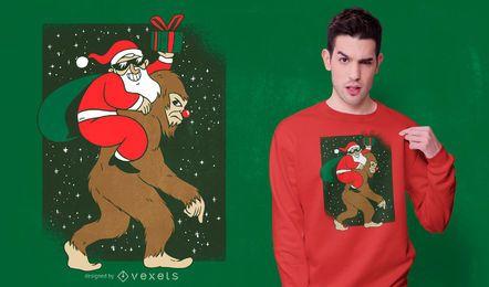 Diseño de camiseta Santa Bigfoot