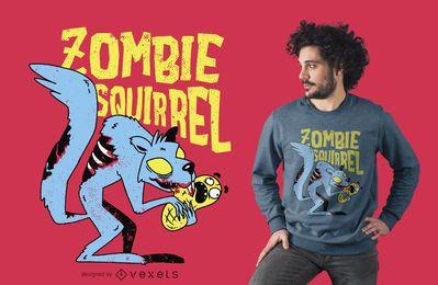 Design de t-shirt de esquilo zumbi