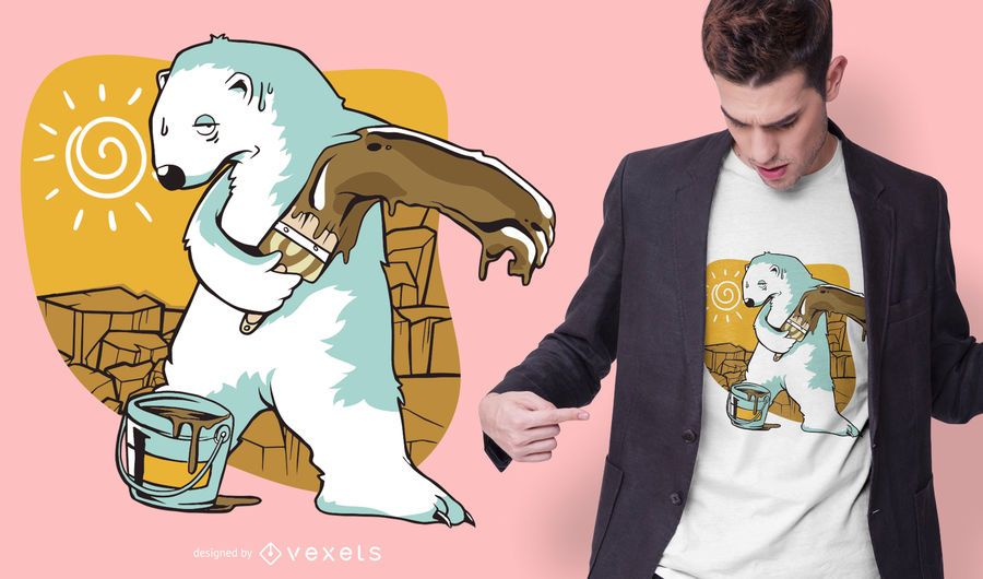 Projeto do t-shirt da pintura do urso polar