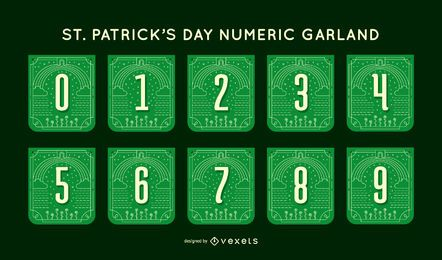 Conjunto de guirnaldas de números del día de san patricio