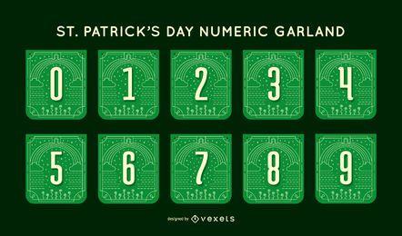 Conjunto de guirnaldas del número del día de san patricio