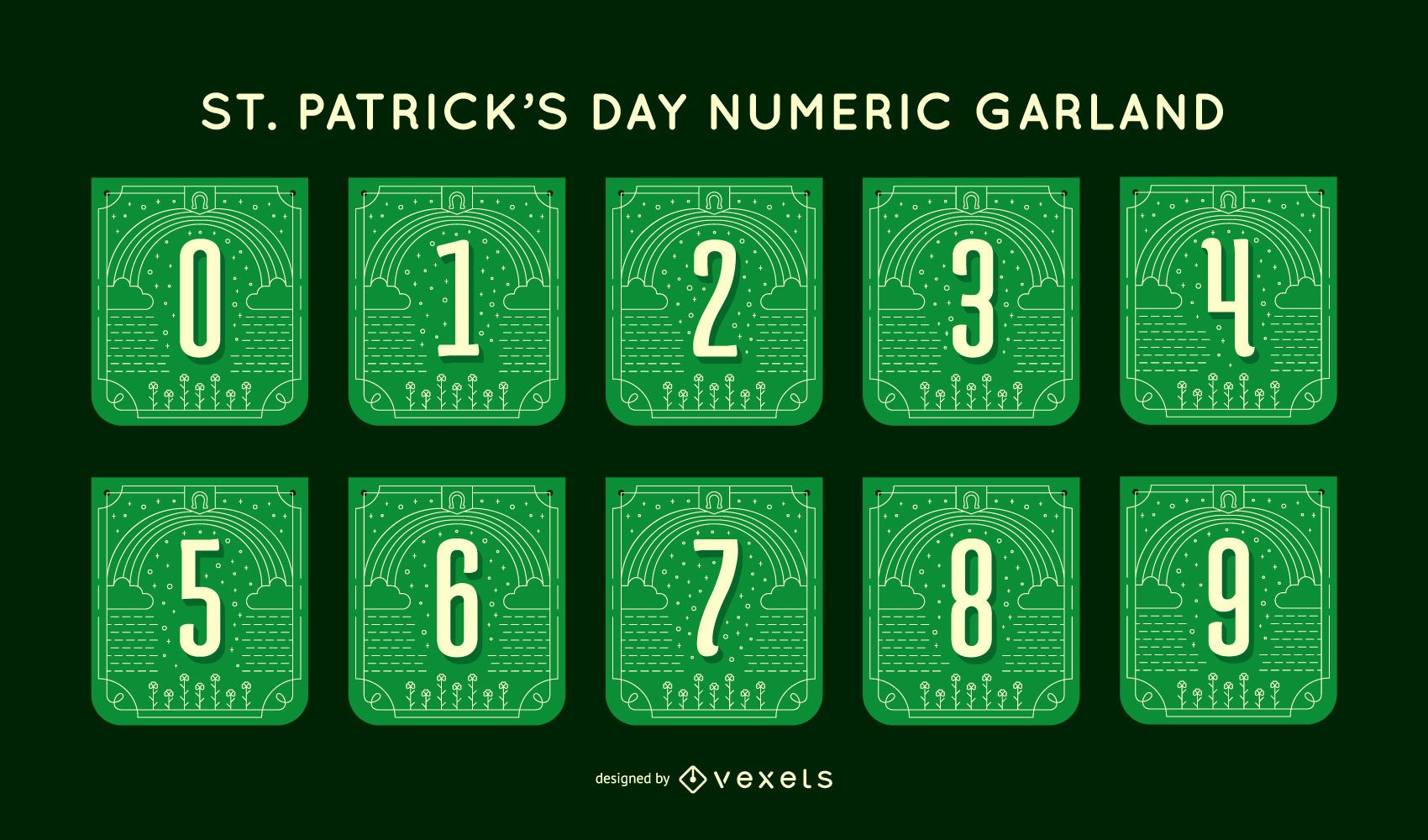 St patrick's day number garland set