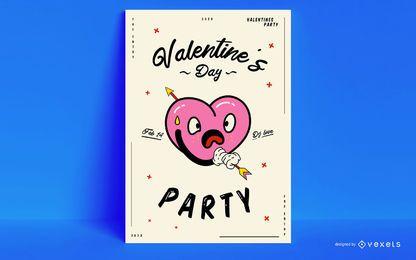 Diseño de carteles de fiesta de San Valentín