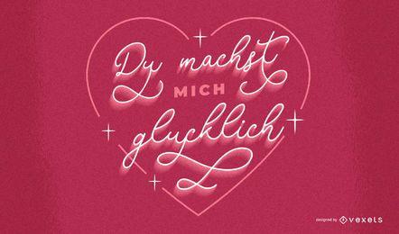 Deutscher Schriftzug zum Valentinstag