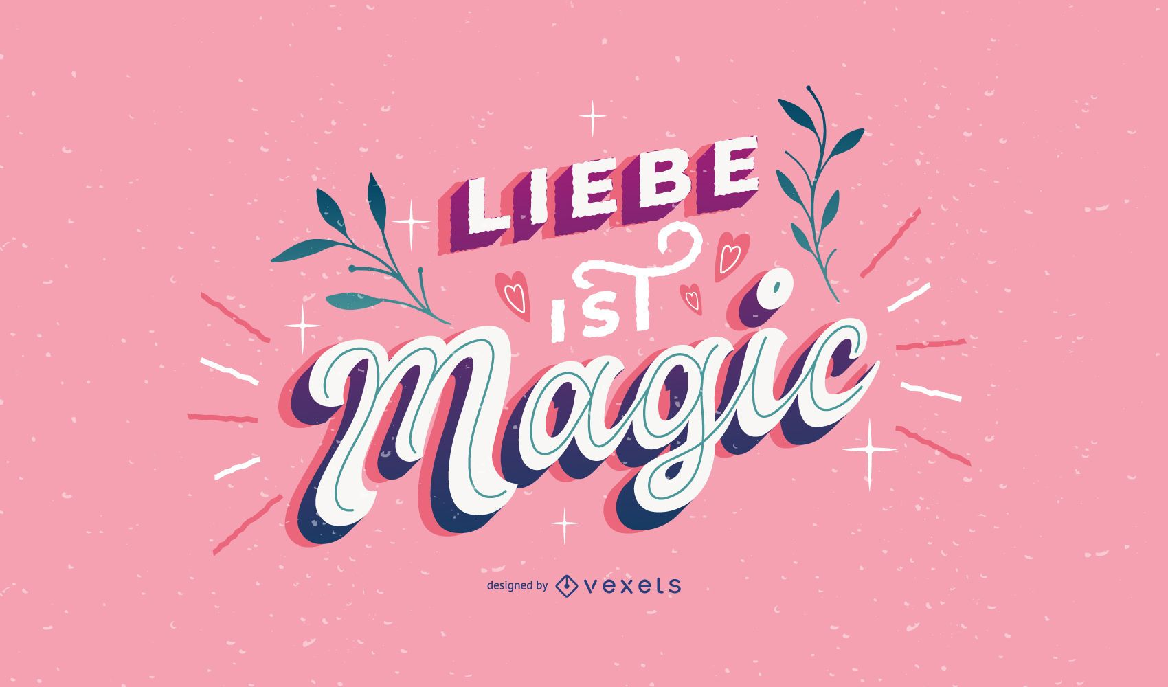 Valentines day german lettering design