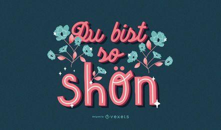 German valentine lettering design