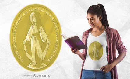 Diseño de camiseta de la medalla de la Virgen María