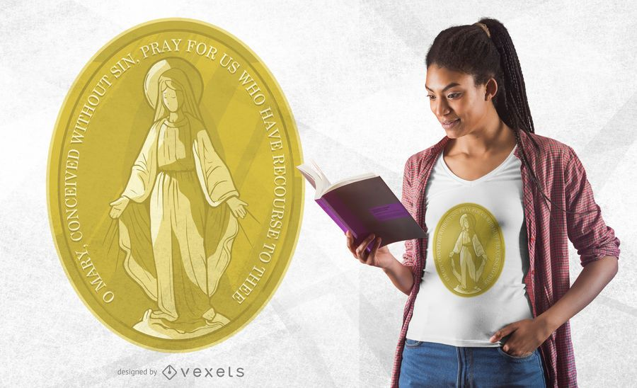 Virgin Mary Medal T-shirt Design