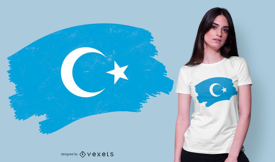 Design de t-shirt de bandeira uigur