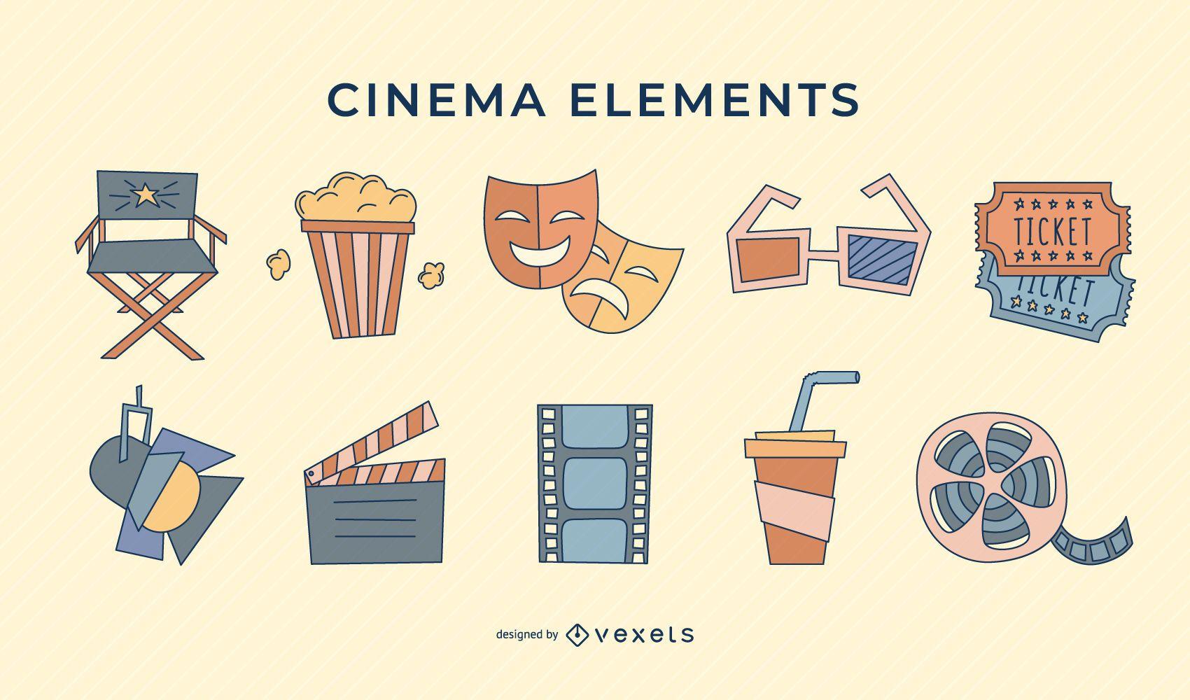 Cinema retro elements stroke set