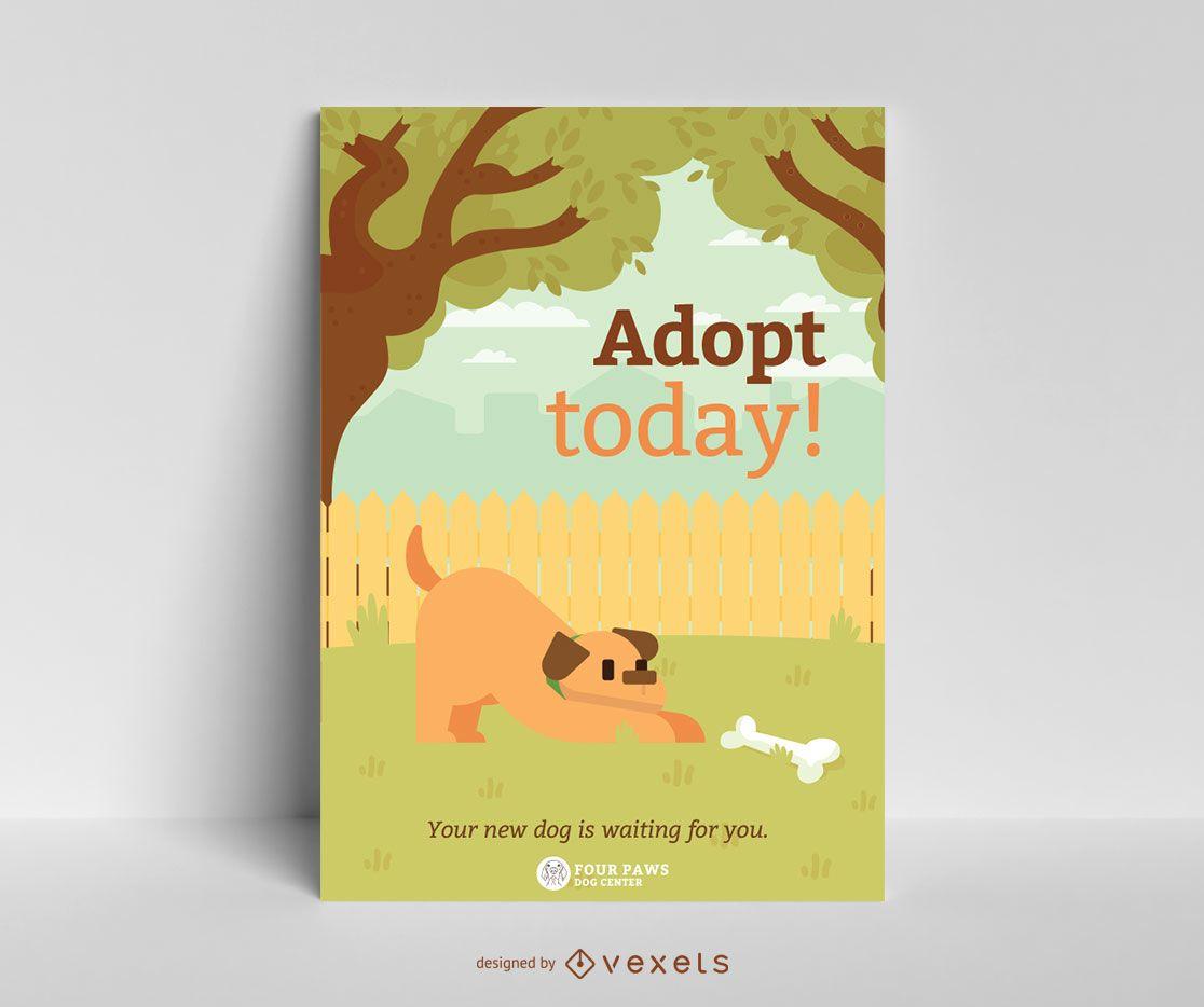 Plantilla de cartel de adopción de perro