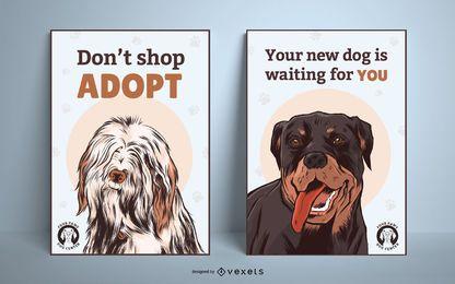 Conjunto de cartaz de adoção de cachorro