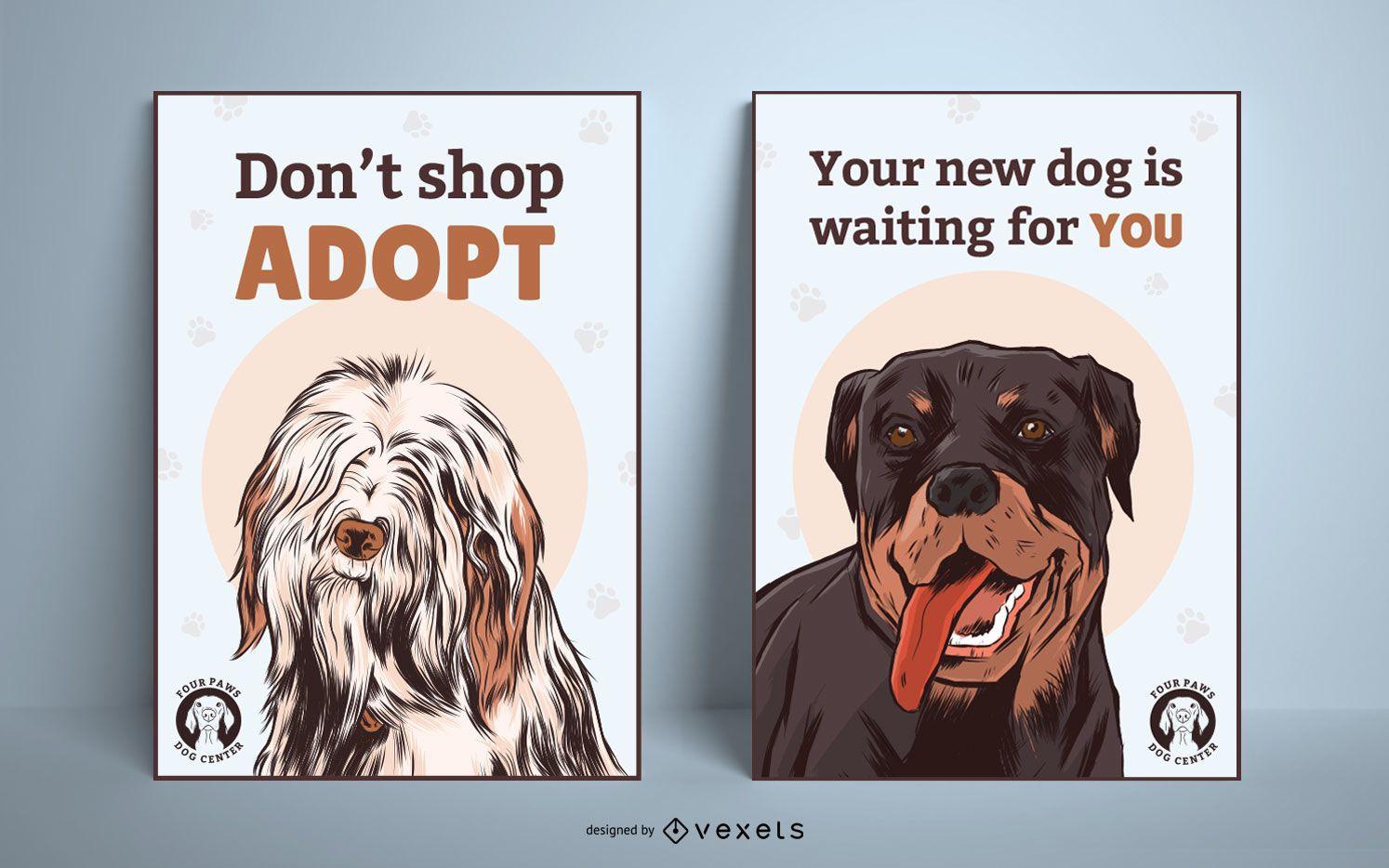 Dog adoption poster set