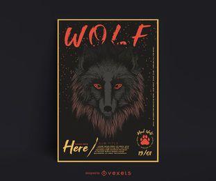 Design de cartaz de ilustração de lobo