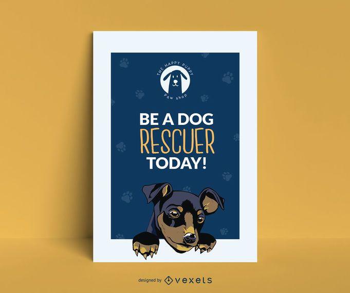 Design de cartaz de resgate de filhote de cachorro