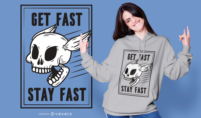 Diseño de camiseta de calavera rápida