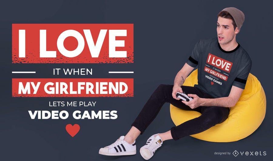 Amo meu design de camiseta de namorada