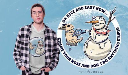 Design de camiseta do boneco de neve do coelho