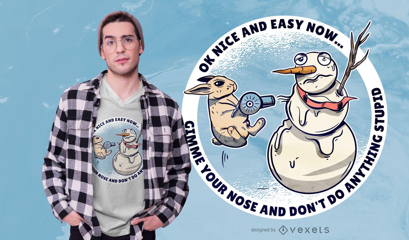 Rabbit snowman t-shirt design