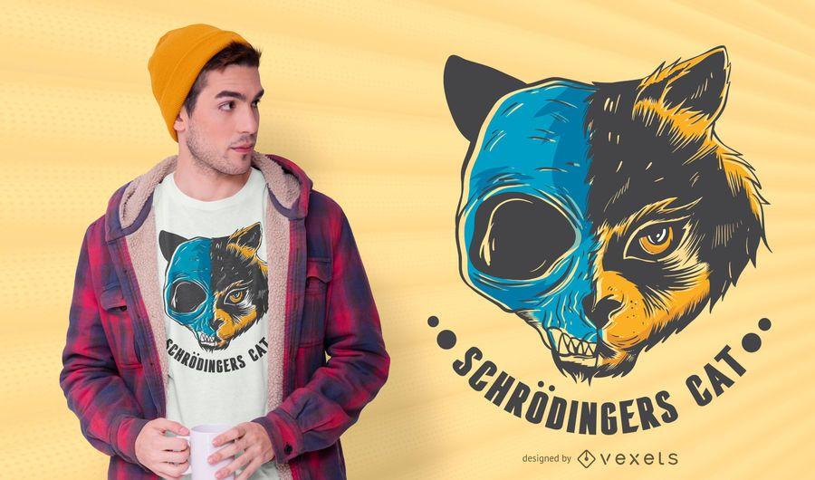 Cat skull t-shirt design