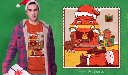Diseño de camiseta borracha santa navidad