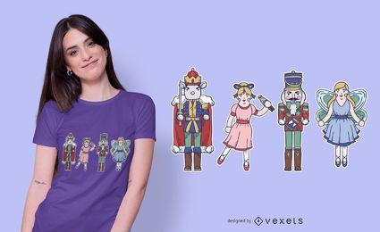 Diseño de camiseta de personajes Cascanueces