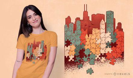 Design de camiseta de quebra-cabeça da cidade