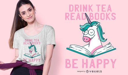 Desenho de camiseta de leitura de unicórnio