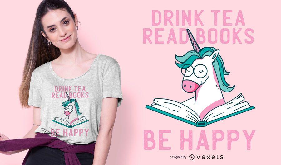 Einhorn, das T-Shirt Design liest