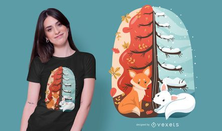 Diseño de camiseta de zorros