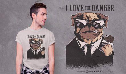 Design de camiseta de citação de perigo para cachorro