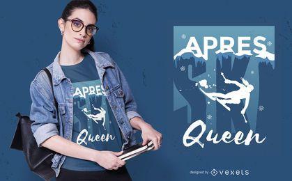 Design de camiseta rainha do esqui Apres