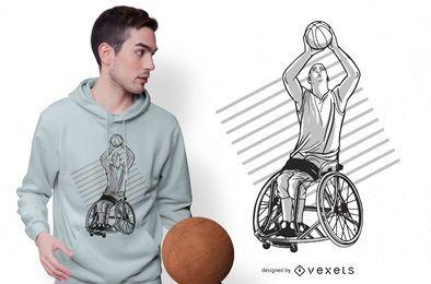 Design de t-shirt de basquete em cadeira de rodas